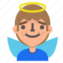 angel, avatar, emoji, emoticon, face, man, profile icon