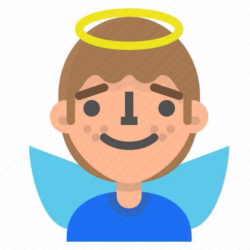 angel, avatar, emoji, emoticon, face, man, profile icon
