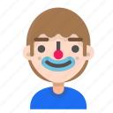 avatar, clown, emoji, emoticon, face, man, profile icon