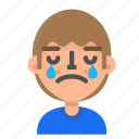 2, avatar, crying, emoji, emoticon, face, man, profile icon