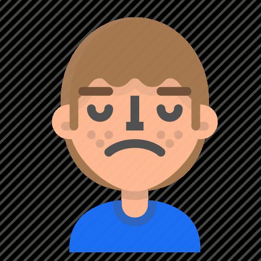avatar, disenchanted, emoji, emoticon, face, man, profile icon