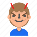 avatar, emoji, emoticon, evil, face, man, profile icon