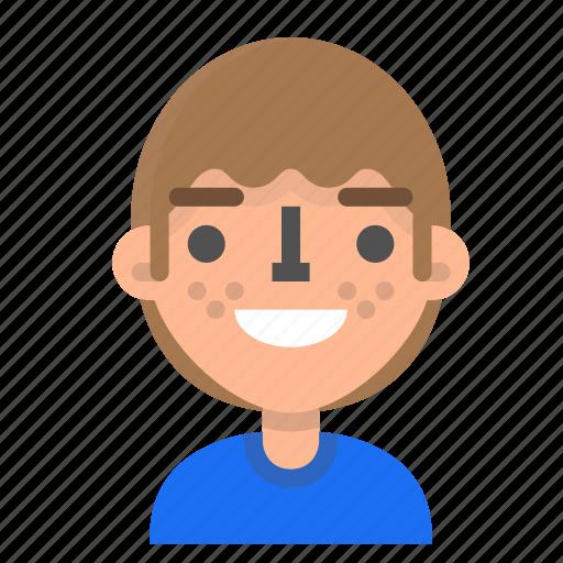 avatar, emoji, emoticon, face, gald, man, profile icon