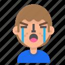avatar, crying, emoji, emoticon, face, happy, man, profile icon