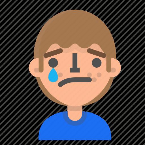 avatar, emoji, emoticon, face, happy, man, profile, tear icon