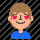 avatar, emoji, emoticon, face, in, love, man, profile icon
