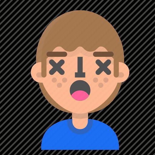 avatar, emoji, emoticon, face, lifeless, man, profile icon