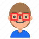 avatar, emoji, emoticon, face, man, nerd, profile icon