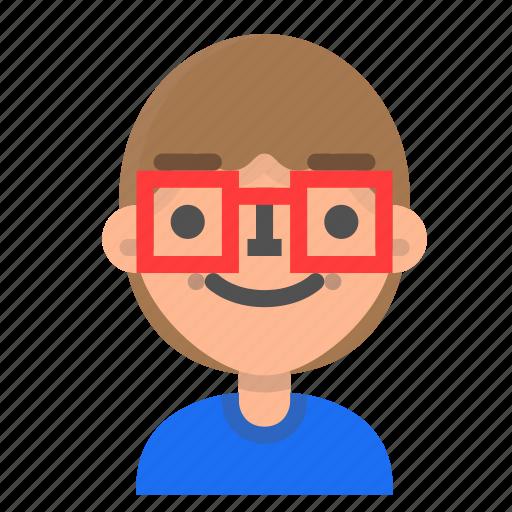 avatar, emoji, emoticon, face, man, nerd, profile icon