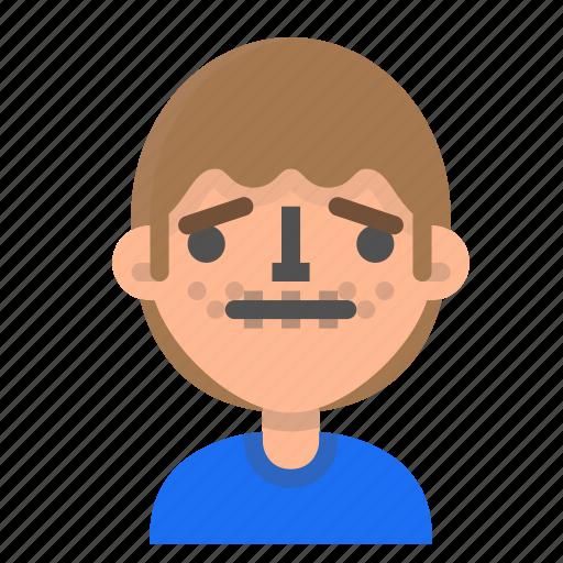avatar, emoji, emoticon, face, man, profile, silence icon