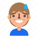 avatar, emoji, emoticon, face, man, profile, sorry icon