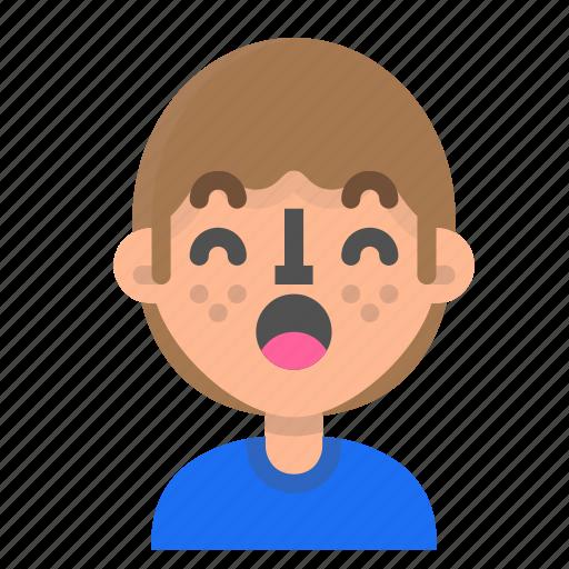 avatar, emoji, emoticon, face, man, profile, surprised icon