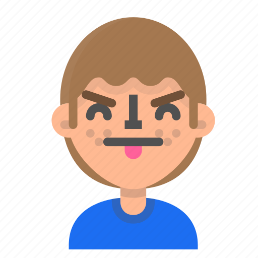 avatar, emoji, emoticon, face, man, profile, tongue icon