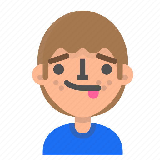 avatar, emoji, emoticon, face, man, profile, tongue icon