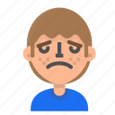 avatar, emoji, emoticon, face, man, profile, upset icon