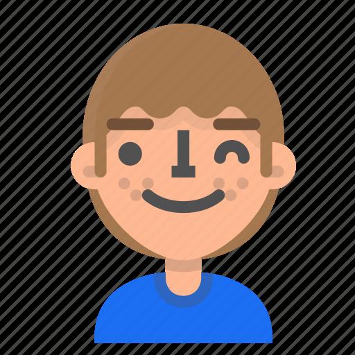 avatar, emoji, emoticon, face, man, profile, wink icon