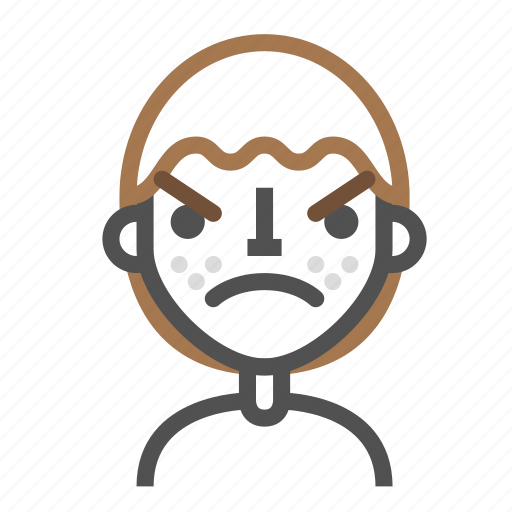 Angry, avatar, emoji, emoticon, face, line, man icon - Download on Iconfinder