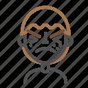 atonished, avatar, emoji, emoticon, face, line, man icon