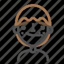avatar, confused, emoji, emoticon, face, line, man icon