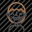 avatar, contented, emoji, emoticon, face, line, man icon