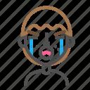 avatar, crying, emoji, emoticon, face, line, man icon