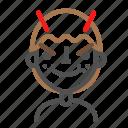 avatar, emoji, emoticon, evil, face, line, man icon
