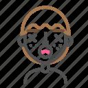 avatar, emoji, emoticon, face, lifeless, line, man icon