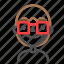 avatar, emoji, emoticon, face, line, man, nerd icon