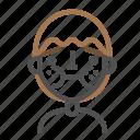 avatar, emoji, emoticon, face, line, man, sick icon