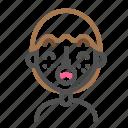 avatar, emoji, emoticon, face, line, man, surprised