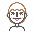 avatar, emoji, emoticon, face, line, man, tongue2 icon