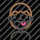 avatar, emoji, emoticon, face, line, man, tongue icon