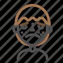 avatar, emoji, emoticon, face, line, man, upset icon