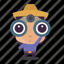 binoculars, boy, emoji icon