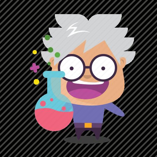 boy, emoji, science icon
