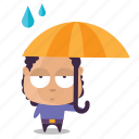 avatar, boy, emoji, rain icon