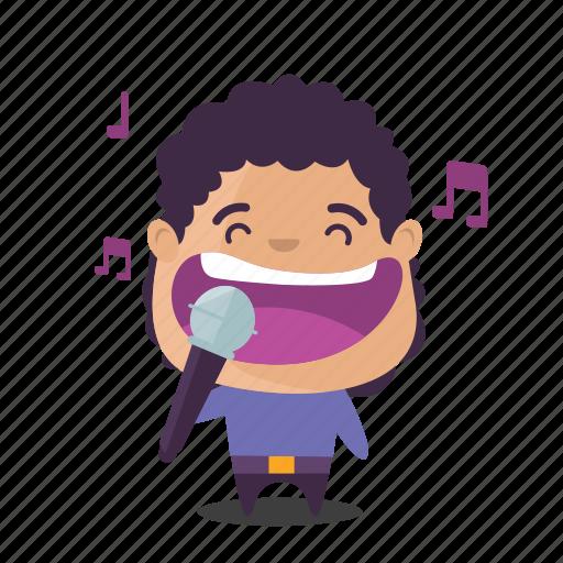 boy, emoji, karaoke, sing icon