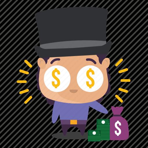 boy, emoji, money, rich icon