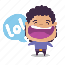 boy, emoji, laugh, lol icon