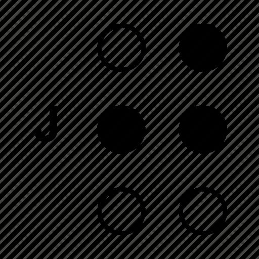 alphabet, braille, dot, j, language icon