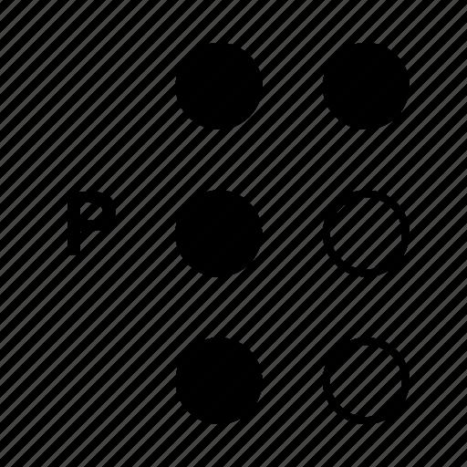 alphabet, braille, dot, language, p icon
