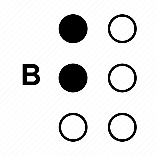 alphabet, b, braille, dot, language icon
