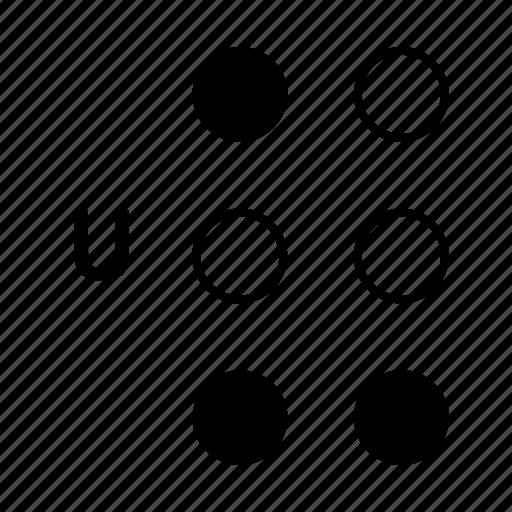 alphabet, braille, dot, language, u icon