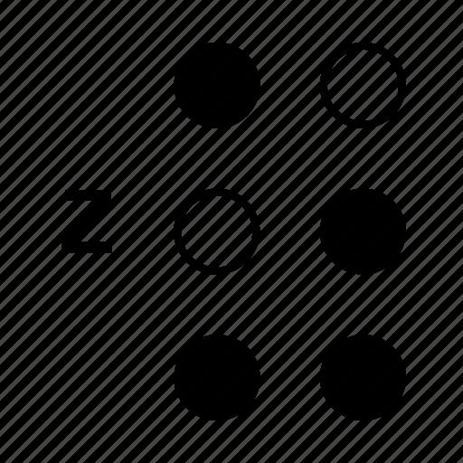 alphabet, braille, dot, language, z icon