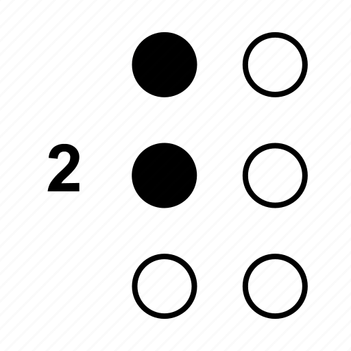 braille, dot, language, number, two icon