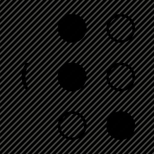 braille, dot, language, open bracket, sign icon