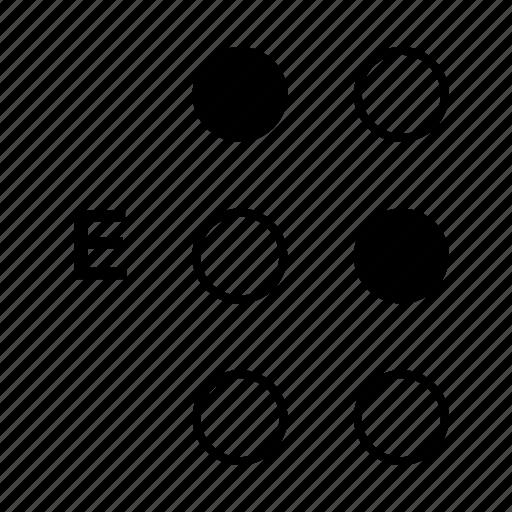 alphabet, braille, dot, e, language icon