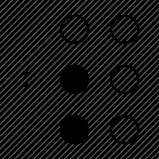braille, dot, language, semicolon, sign icon