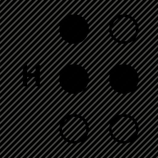 alphabet, braille, dot, h, language icon