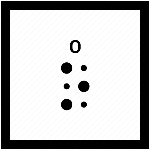 alphabet, braille, letter, o icon